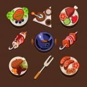 Conjunto de iconos de platos — Vector de stock