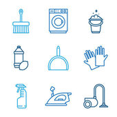 Linear Cleaning icons — Stockvektor