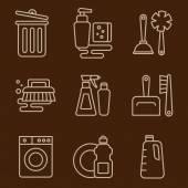 Nettoyage des icônes sur brown — Vecteur