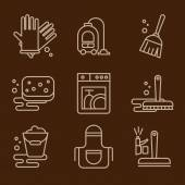 Cleaning icons on brown — Stock Vector