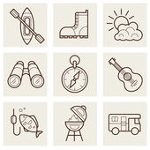 Camping linear Icons — Stock Vector