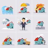Symbols home insurance — Stock Vector