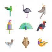Birds icon set — Stock Vector