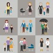Family flat icons set — Stock Vector #73762519