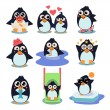 Penguin Set Vector Illustration, — Vettoriale Stock  #76028043