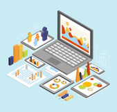 Isometric business finance analytics, — Stock Vector