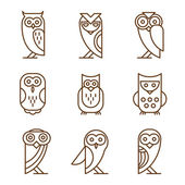Barn linear owls — Stock Vector