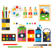 Studio drawing tools to the creative process flat icons set isolated vector — Stock Vector