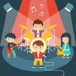 Four kids in a music band — Stock Vector #81274400