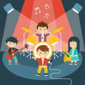 Four kids in a music band — Stock Vector