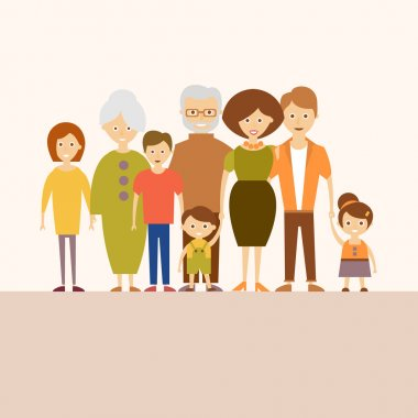 Big Nuclear Family. Vector Illustration in Flat Design