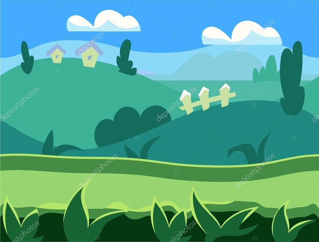 Paisaje de dibujos animados naturaleza fondo interminable for Suelo organico dibujo animado