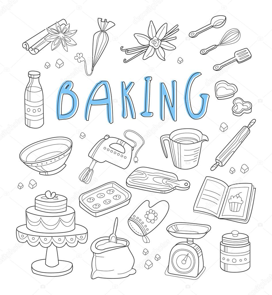 Bakery and dessert doodles. Hand drawn vector