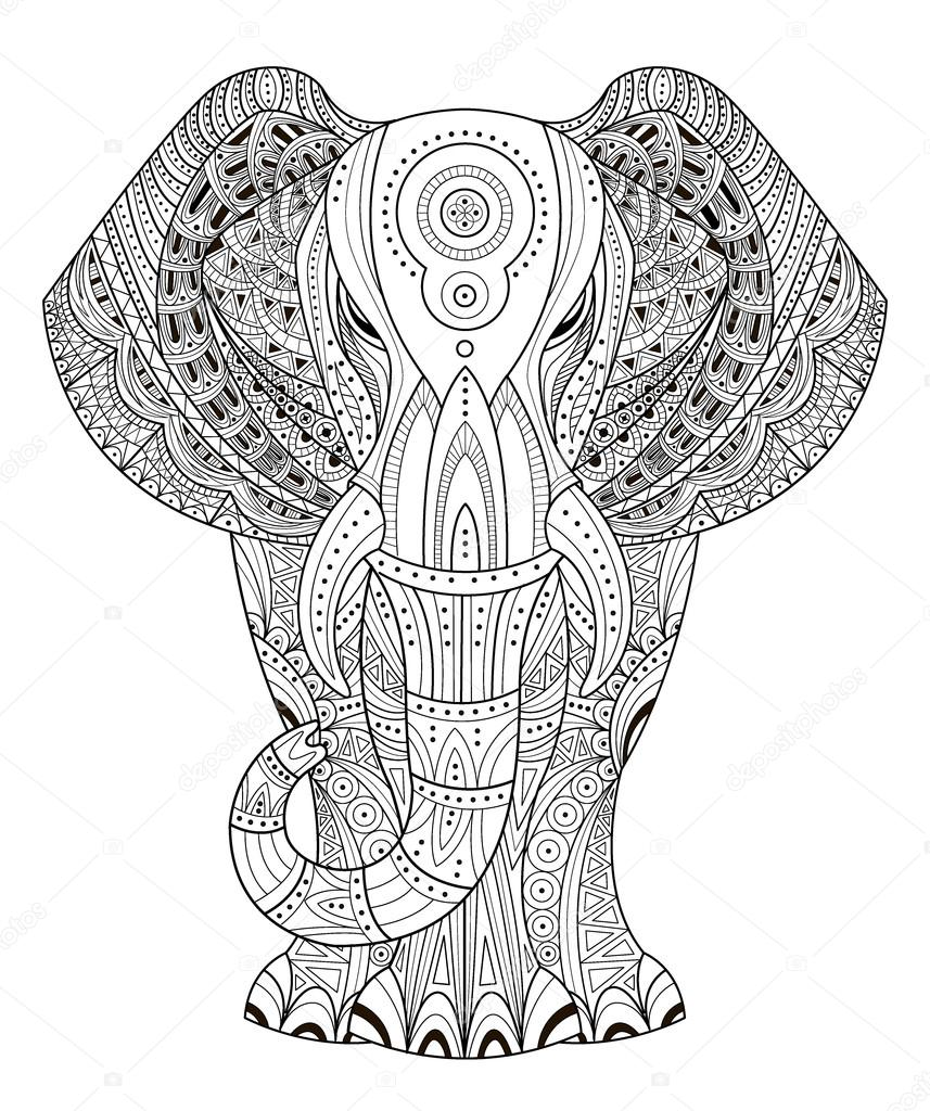 elephant vector illustration in zentangle style