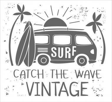 Summer Surf Print with a Mini Van