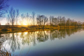 View of the sunset on the lake shore — Stockfoto