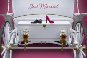 White exclusive wedding carriage for lovers — Stock Photo