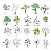 Set of 20 colored trees on a white background , sketch — Stock Vector