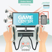 Illustration and banner template concept for game center and online store — Stock Vector