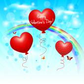 Valentine balloons on air — Vettoriale Stock