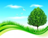 Green landscape banner — Stock Vector