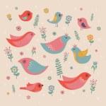 Vector set of cute birds — Stock Vector #61738207