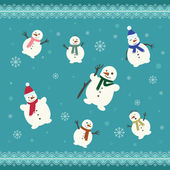 Set of cute snowman  — Stock Vector