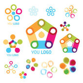 Varicolored logo sets — Stock Vector