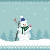 Christmas card with snowman family — Stock Vector
