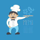 Vector illustration of chef and big mustache with cloche. Pizza — Stock Vector