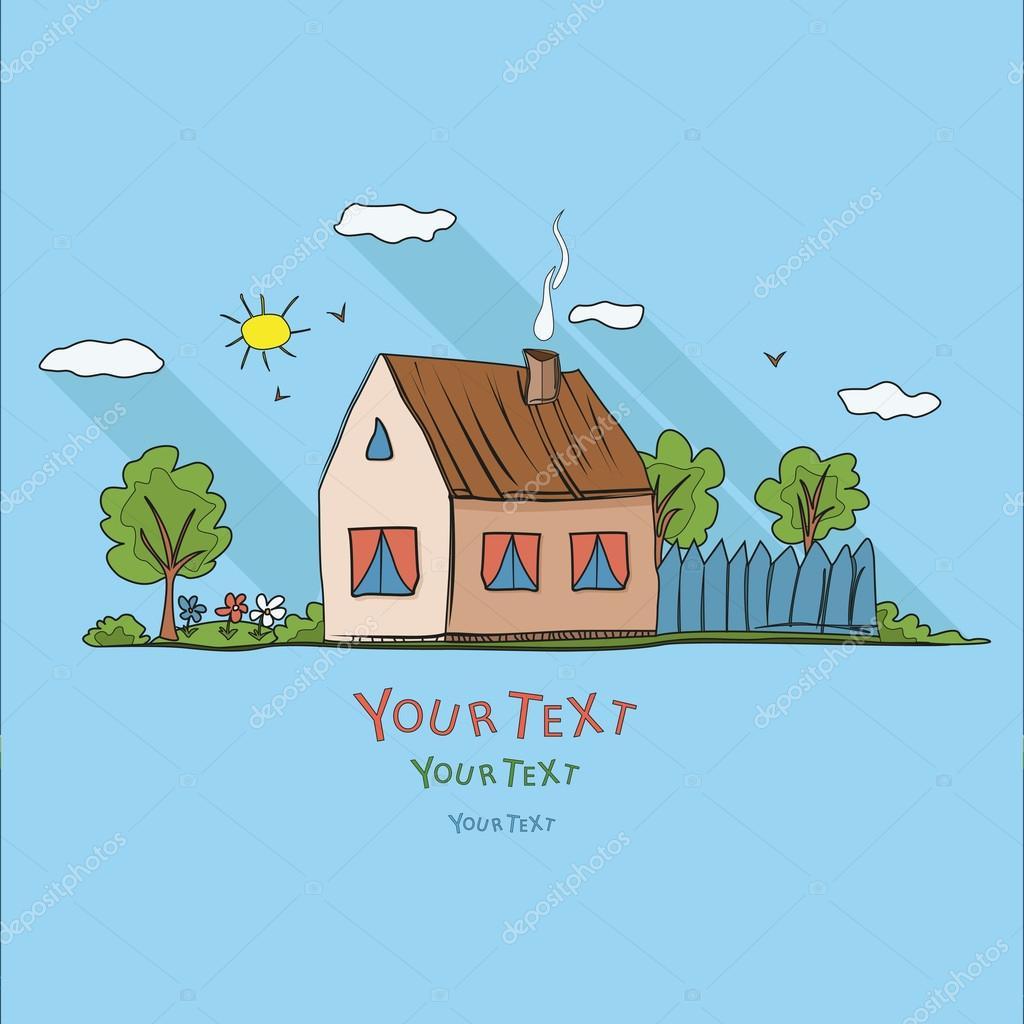 Enfant dessin magnifique paysage grande maison famille heureuse ve image - Dessin maison enfant ...