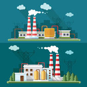 Industrial landscape set - industry factory. Flat style vector i — Stock Vector