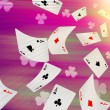 Playing cards falling on a pink background — Stock Photo #61675977