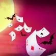Halloween banner with cards falling, bright moon and bats — Stock Photo #61676179