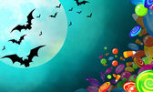 Halloween banner with colorful candies falling, bright moon and bats flying — Stock Photo
