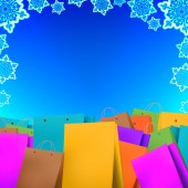 Winter Sale background with shopping bags — Stock Photo