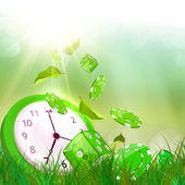 Time concept. Summer time. Alarm clock on the green grass — Stock Photo