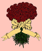Rose bouquet with banner.  — Cтоковый вектор