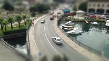 Montenegro time lapse bridge over the water vechicle — Stock Video