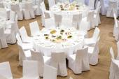 Beautifully organized event - served banquet tables — Stock Photo