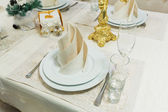 Beautifully organized event - served banquet table closeup — Stock Photo