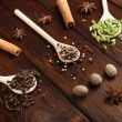 Variety of spices in wooden spoons — Stock Photo #67905765