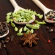 Variety of spices in wooden spoons — Stock Photo #67905897