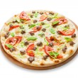 Delicious seafood pizza with tomatoes — Stock Photo #75385455