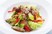 Restaurant voedsel - vlees salade met geroosterd rundvlees en groenten — Stockfoto