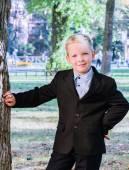 Portrait of boy in school uniform — Stock Photo