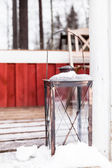 Streetlamp near house in winter — Stock Photo