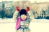 Portrait of little girl outdoors in winter — Stock Photo
