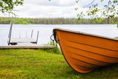 Yaz, yatay, göl ve tekne — Stok fotoğraf