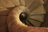 Stone spiral staircase in the tower — Zdjęcie stockowe